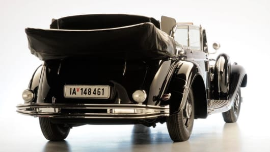"A rear view of Hitler's ""Super Mercedes"" parade car"