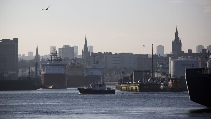 A view towards the city centre from Aberdeen harbour, the Scotland's North Sea oil and gas transportation and maintenance hub.