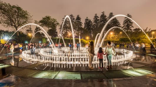 The Fountain of Illusion at The Magic Water Circuit in Lima, Peru.