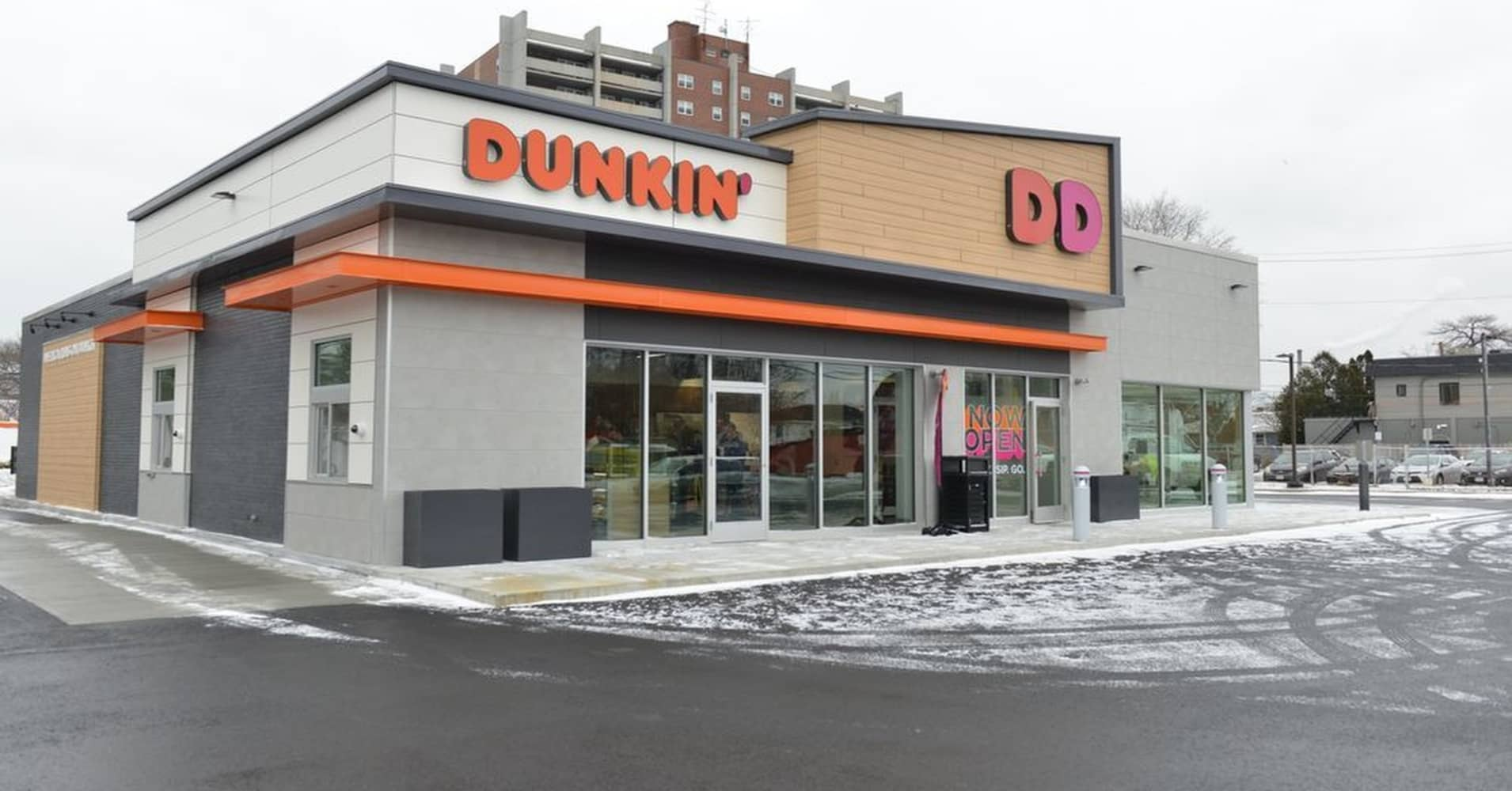 Exterior of Dunkin' Donut's new location in Quincy, Massachusetts.