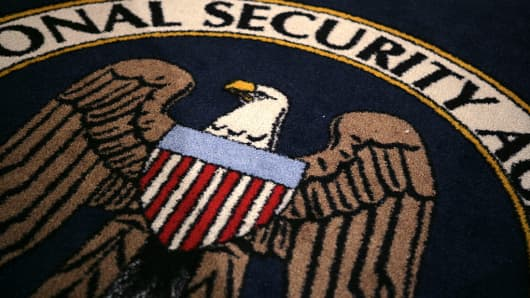 The logo of the US National Security Agency at the agency's installation on January 25, 2006.