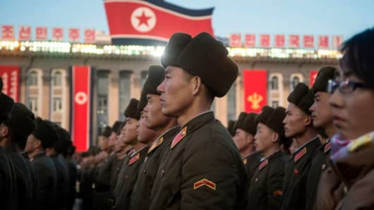 North Korean soldiers attending a mass rally to celebrate achievement of full nuclear statehood on December 1, 2017.
