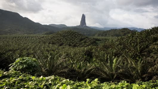 A view of Pico Cao Grande, a volcanic peak on Sao Tome island on January 1, 2018.