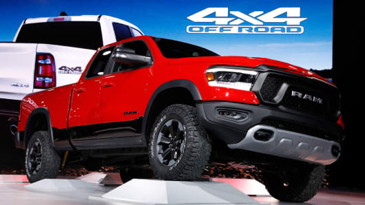 The 2019 Dodge Ram 1500 Rebel pickup truck is displayed at the North American International Auto Show in Detroit, Michigan, U.S., January 15, 2018.