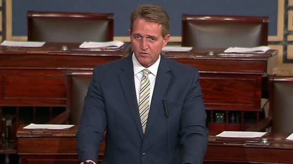 Sen. Jeff Flake speaking on the Senate floor on Jan. 17th, 2018.