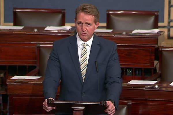 Sen. Jeff Flake speaking on the Senate floor on Jan. 17th, 2018.
