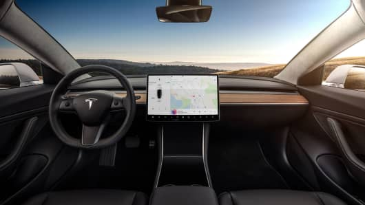 Tesla model 3 touch screen dashboard.