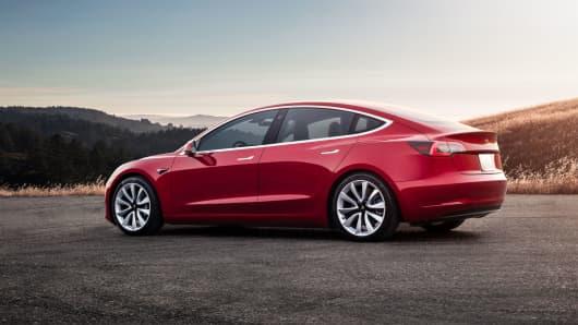 Tesla Model 3 exterior view.