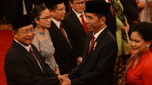 Indonesian President Joko Widodo at the 2015 cabinet reshuffle on August 12, 2015.