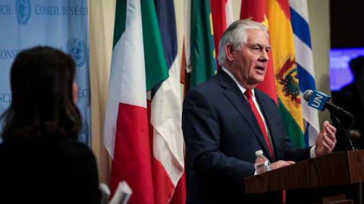 US Secretary of State Rex Tillerson attends UN Security Council meeting concerning North Korea's nuclear ambitions on December 15, 2017.