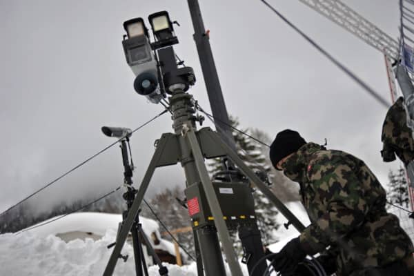 Swiss army soldiers install surveillance equipment in Davos, Switzerland