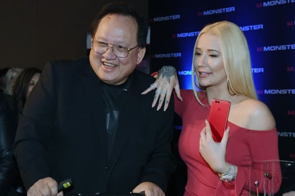 Monster founder Noel Lee (left) and rapper Iggy Azalea at the Consumer Electronics Show in Las Vegas on January 8, 2018