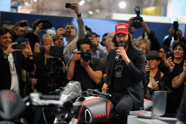 Keanu Reeves at a press conference for his motorcycle brand Arch, at the International Motorcycle Fair in Milan on November 8, 2017