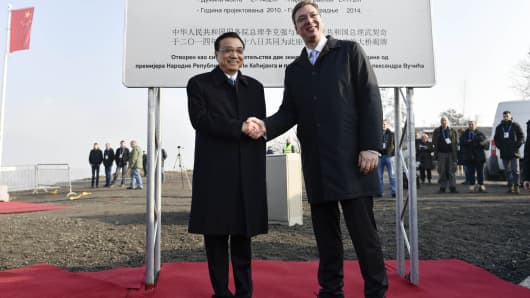 Chinese Premier Li Keqiang and Serbian President Aleksandar Vucic attend the completion ceremony of a new bridge across the River Danube on December 18, 2014, in Belgrade, Serbia.