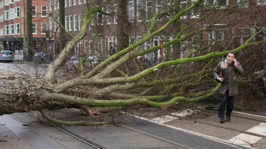 A man who escaped unharmed makes a phone call after his scooter was hit by a crashing tree uprooted by heavy winds in Amsterdam, Netherlands, Thursday, Jan. 18, 2018.