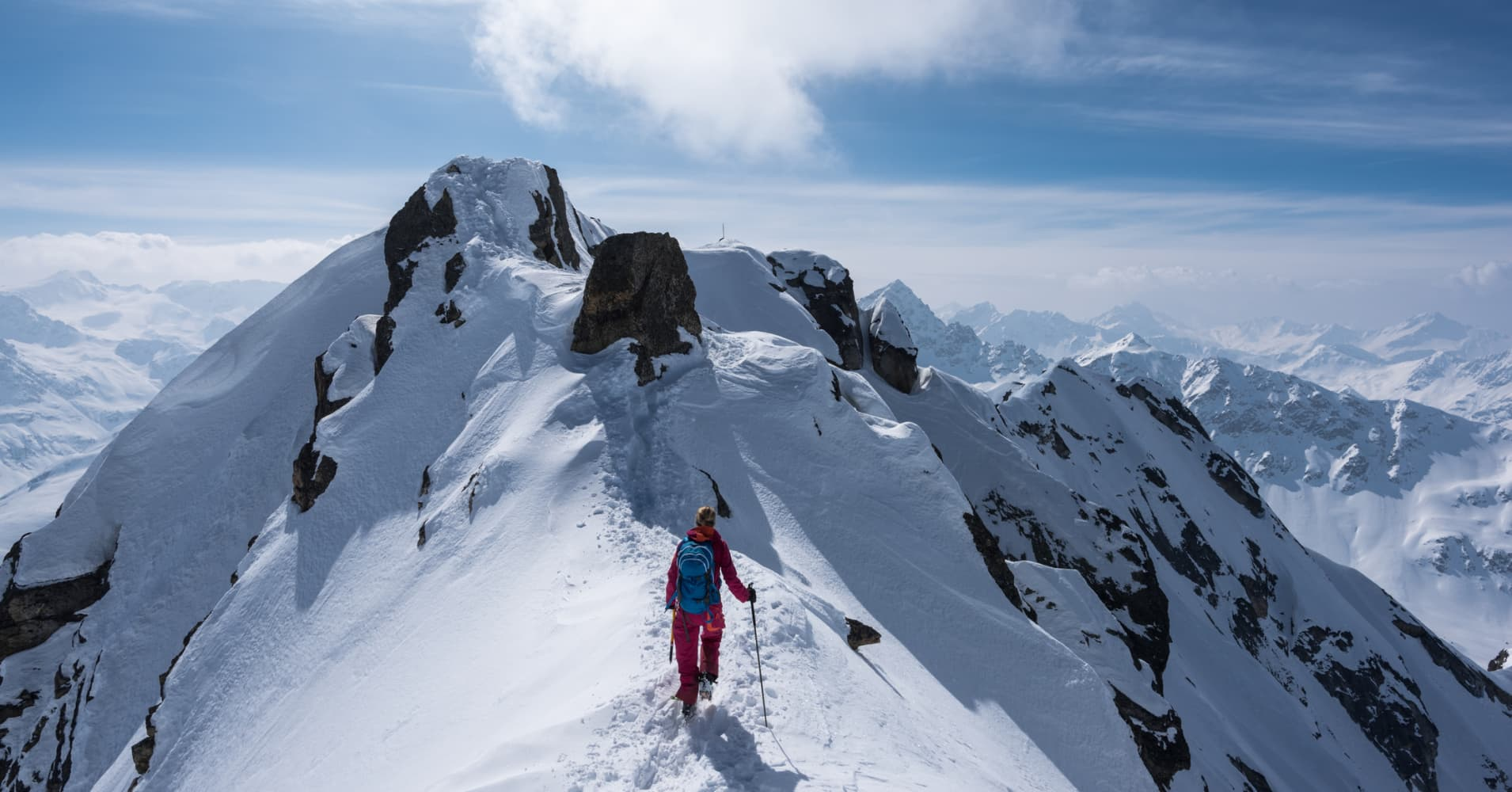 Ski mountaineering at the Flüela Schwarzhorn, Switzerland