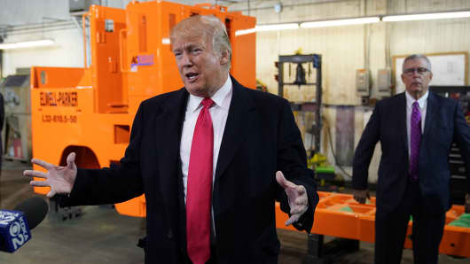 President Donald Trump speaks during a tour of the H&K Equipment Company in Coraopolis, Pennsylvania on January 18, 2018.
