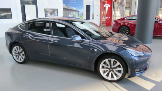 A Tesla Model 3 on display at a showroom in New York on Jan. 18, 2018.