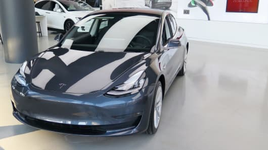 A Tesla Model 3 on display at a showroom in New York on Jan. 18th, 2018.
