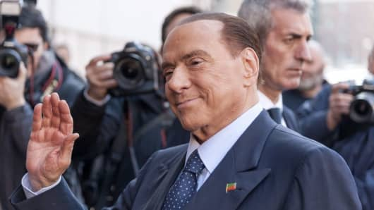Silvio Berlusconi appears as a guest on the talk show ''L'aria che tira' television channel La7 on January 18, 2018 in Rome, Italy.