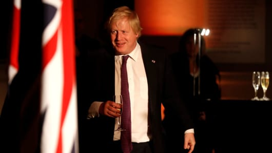 British Foreign Secretary Boris Johnson attends an official dinner at the Victoria and Albert Museum in London.