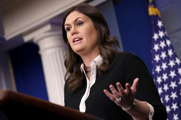 White House Press Secretary Sarah Huckabee Sanders answers questions during the daily briefing at the White House January 17, 2018 in Washington, DC.