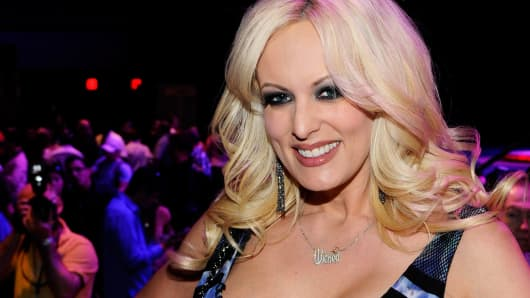 Adult film actress Stormy Daniels appears during an autograph signing for Wicked Pictures at the 2012 AVN Adult Entertainment Expo at The Joint inside the Hard Rock Hotel & Casino January 20, 2012 in Las Vegas.