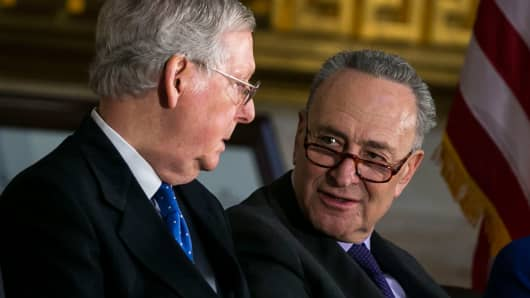 Senate Majority Leader Mitch McConnell (R-KY) (L) and Senate Minority Leader Chuck Schumer (D-NY).