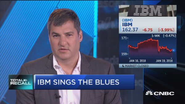 IBM shares sink despite snapping 22 quarters of revenue losses