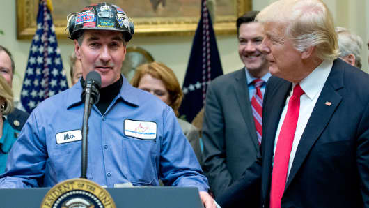 A coal miner identified only as Mike makes remarks prior to U.S. President Donald Trump signing H.J. Res. 38, disapproving the rule submitted by the US Department of the Interior known as the Stream Protection Rule in the Roosevelt Room of the White House on February 16, 2017 in Washington, DC.