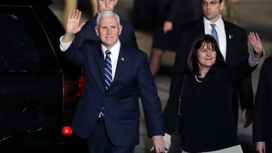 Vice President Mike Pence and his wife Karen wave upon their arrival at Ben Gurion international Airport in Lod, near Tel Aviv, Israel January 21, 2018.