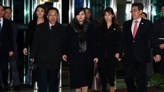 North Korean delegation arrives at customs after inspecting venues for the 2018 Winter Olympics on January 22, 2018.