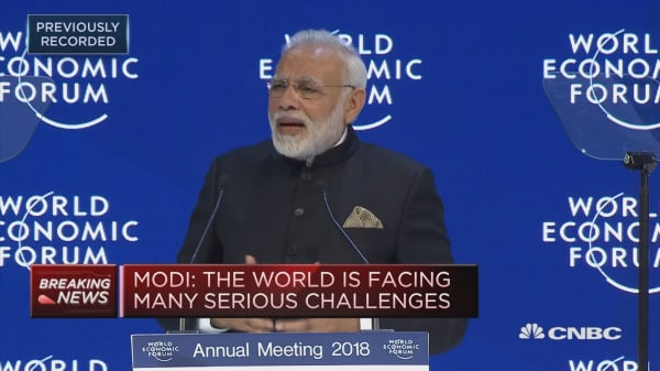 Indian PM Narendra Modi speaks at Davos