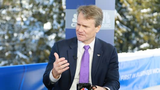 Brian Moynihan, Chairman and CEO of Bank of America speaking at the 2018 WEF in Davos, Switzerland on Jan. 23rd, 2018.