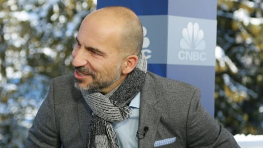 Dara Khosrowshahi, CEO of Uber speaking at the 2018 WEF in Davos, Switzerland on Jan. 23rd, 2018.