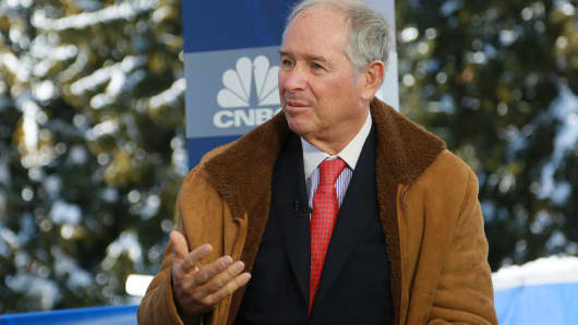 Steve Schwarzman speaking at the 2018 WEF in Davos, Switzerland on Jan. 23rd, 2018.