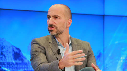 Dara Khosrowshahi, CEO of Uber speaking at the 2018 WEF in Davos, Switzerland.