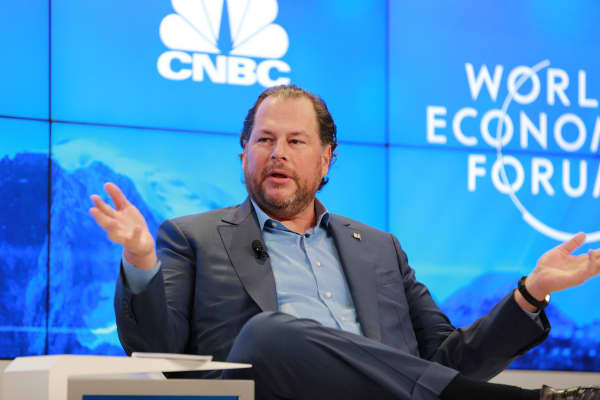 Marc Benioff, CEO of SalesForce speaking the 2018 WEF in Davos, Switzerland.