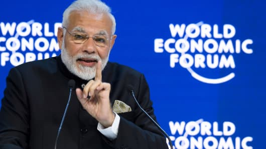 Indian Prime Minister Narendra Modi delivers a speech on the opening day of the World Economic Forum (WEF) 2018 annual meeting, on January 23, 2018 in Davos, eastern Switzerland.