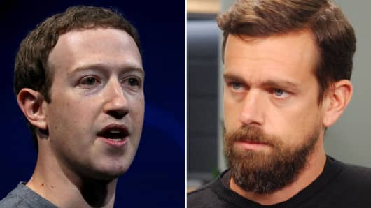 Facebook founder and CEO Mark Zuckerberg and Square co-founder and CEO Jack Dorsey.