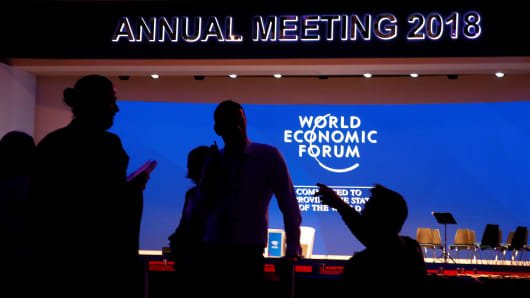 Activity in Congress Hall ahead of the World Economic Forum (WEF) annual meeting in the Swiss Alps resort of Davos, Switzerland January 22, 2018.