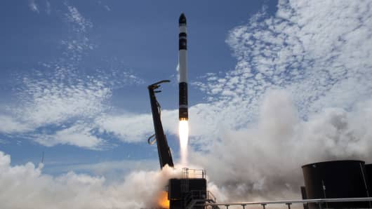 "Rocket Lab's second test launch rocket ""Still Testing"" lifts off from the launchpad at the Mahia Peninsula, New Zealand."