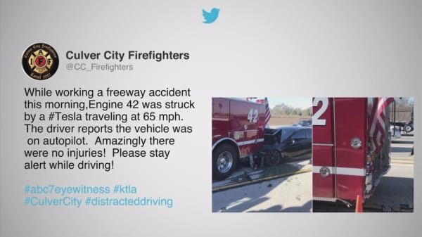 Tesla on 'Autopilot' crashes into firetruck on California freeway
