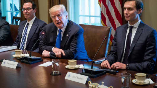 U.S. President Donald Trump holds a meeting in the Oval Office in Washington, D.C.