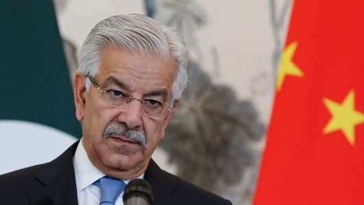 Pakistan Foreign Minister Khawaja Muhammad Asif speaks during a press conference with Chinese Foreign Minister Wang Yi (not pictured) at Diaoyutai State Guesthouse on September 8, 2017 in Beijing, China.