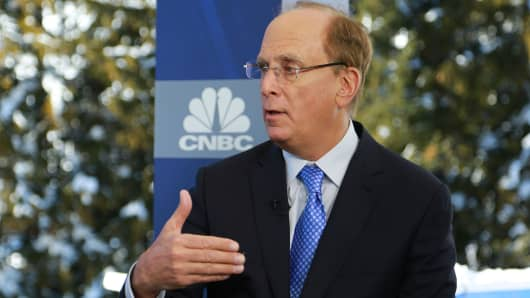 Larry Fink, Chairman and CEO of BlackRock at the 2018 WEF in Davos, Switzerland.