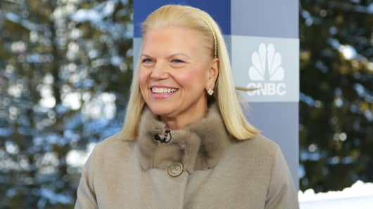 Ginni Rometty, Chairman, president and CEO of IBM at the 2018 WEF in Davos, Switzerland.