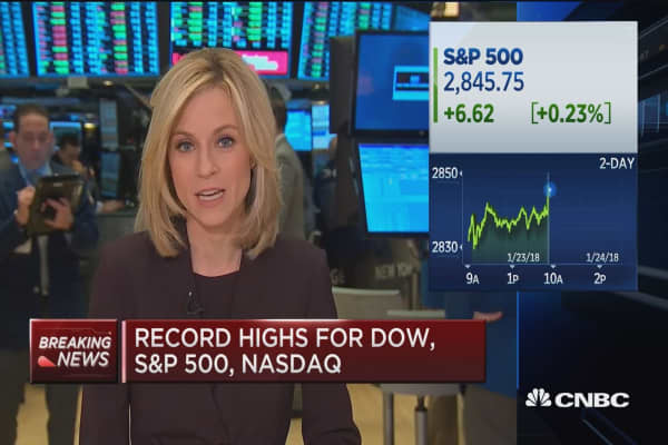 Record highs for Dow, S&P 500 and Nasdaq at the open