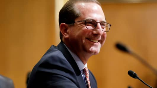Alex Azar II testifies before the Senate Finance Committee on his nomination to be Health and Human Services secretary in Washington, January 9, 2018.