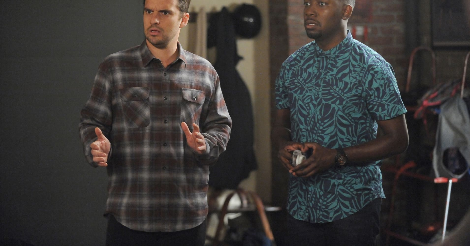 "Jake Johnson and Lamorne Morris in the 'Jury Duty' episode of Fox's ""New Girl."""